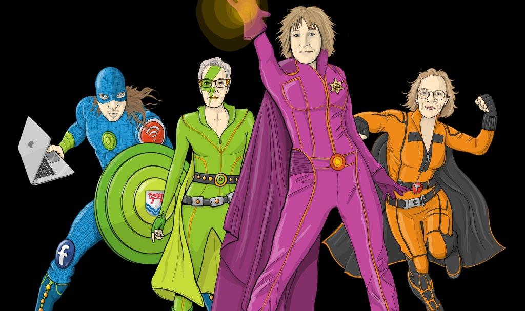 Illustration Superhjältar Krokoms kommun, samlingsbild